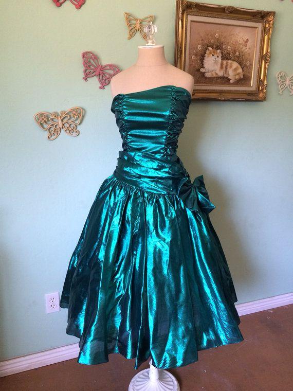80's Prom Dress Mermaid Green Metallic | 80s prom dress costume .