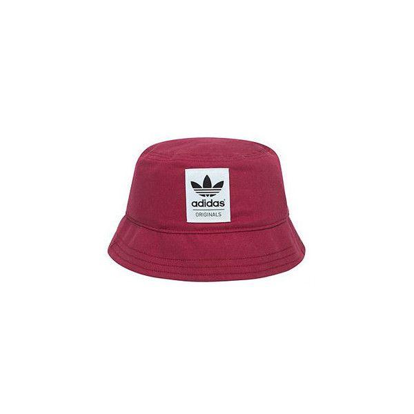 Adidas Originals Burgundy Bucket Hat ❤ liked on Polyvore .