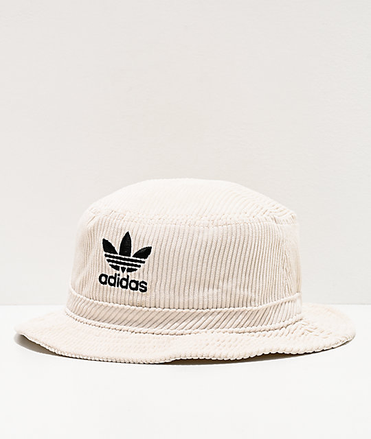 adidas Originals White Corduroy Bucket Hat | Zumi
