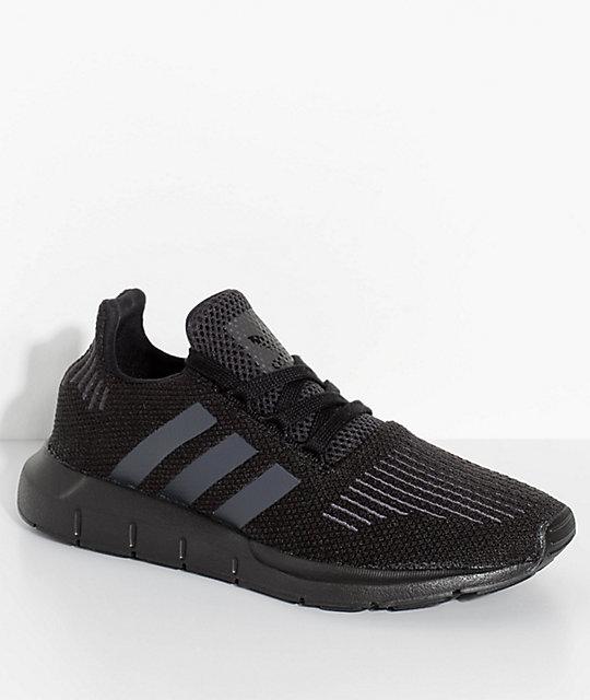 adidas Kids Swift Run Core & Utility Black Shoes | Zumi