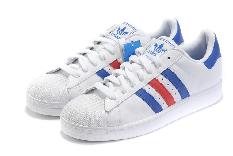 Men's/Women's Adidas Originals Superstar II Shoes Blue/Red/White .