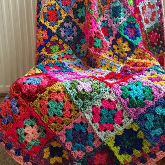The Sunroom UK: Crochet Afghan Blanket Rainbow CAROUSEL Granny .
