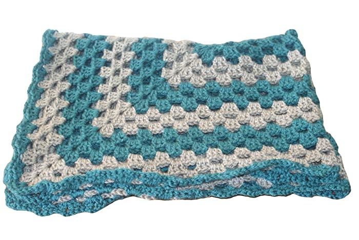 Amazon.com: Teal Baby Blanket, Gray Baby Afghan, Pram Blanket .