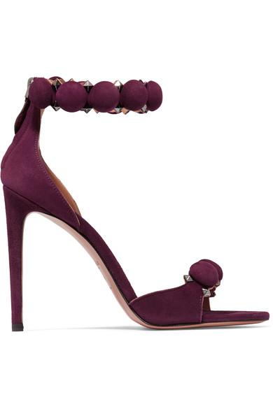 azzedine alaia red dress rihanna, Alaïa Studded suede sandals .