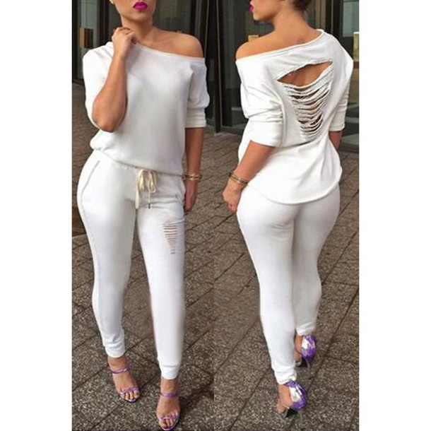 jumpsuit, white, hipster, casual, ripped, all white everything .