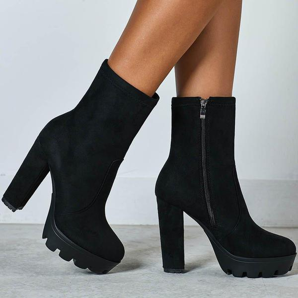 Black Chunky Heels Ankle Boots For Wom
