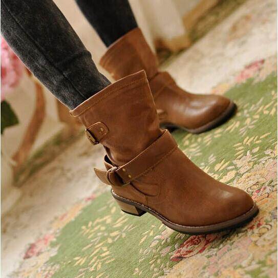 Pu Leather Women Boots Round Toe Buckle Ankle Boots Shoes Woman .