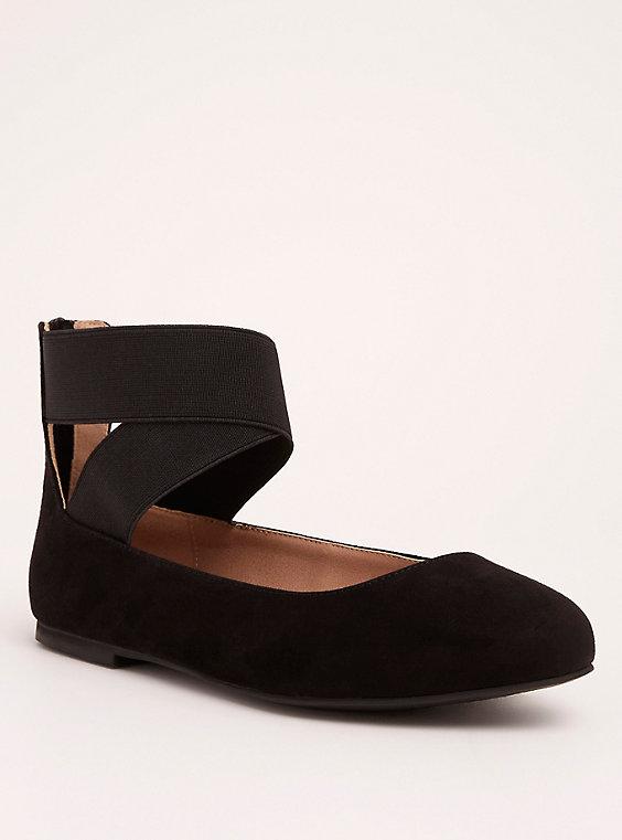 Plus Size - Elastic Ankle Strap Almond Toe Flats (Wide Width) - Torr