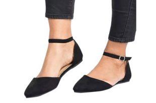 Wodstyle - Women's Ballet Flats Ankle Strap Shoe Ballerina Slipper .