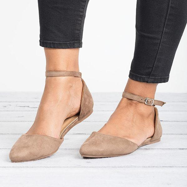 Comfy Pointed Toe Flats Ankle Strap Flat Heel Sandals – sheci