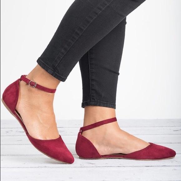 bella marie Shoes | 122 Blush Burgundy Ankle Strap Flats | Poshma