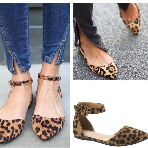 Shoes | Leopard Print Ankle Strap Flats | Poshma