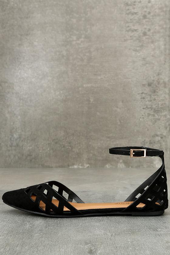 Cute Black Flats - Ankle Strap Flats - Cutout Flats - Vegan Suede .