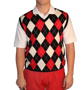Argyle Golf Sweater Vest   Black/Red/White   Me