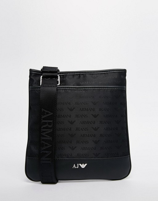 Armani Jeans Nylon Flight Bag With All Over Logo Print   AS
