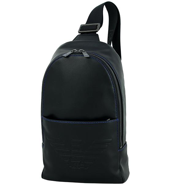 ACROSS: EMPORIO ARMANI Body bag Eagle logo Polyurethane Black .