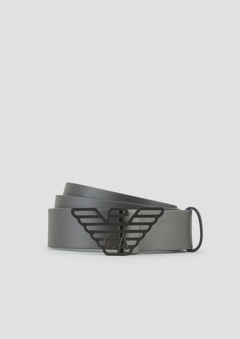 Smooth leather and all over printed belt | Man | Emporio Arma