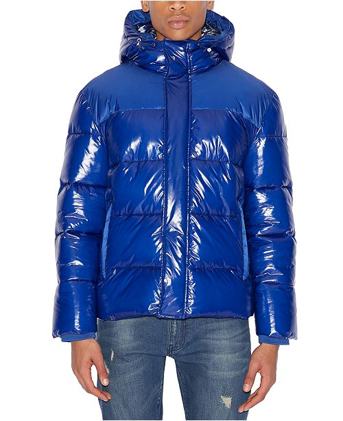 A X Armani Exchange Men's Ribbed Puffer Jacket with Oil Coating .