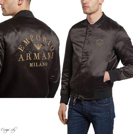 Shop EMPORIO ARMANI 2019-20AW Plain MA-1 Logo Bomber Jackets .