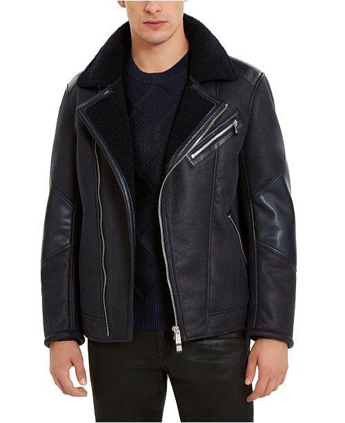 A X Armani Exchange Men's Fleece Lined Faux-Leather Jacket .
