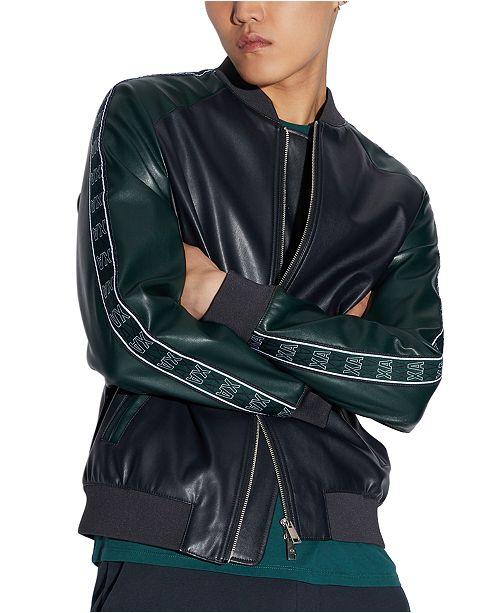 A X Armani Exchange Men's Faux Leather Logo Tape Jacket & Reviews .