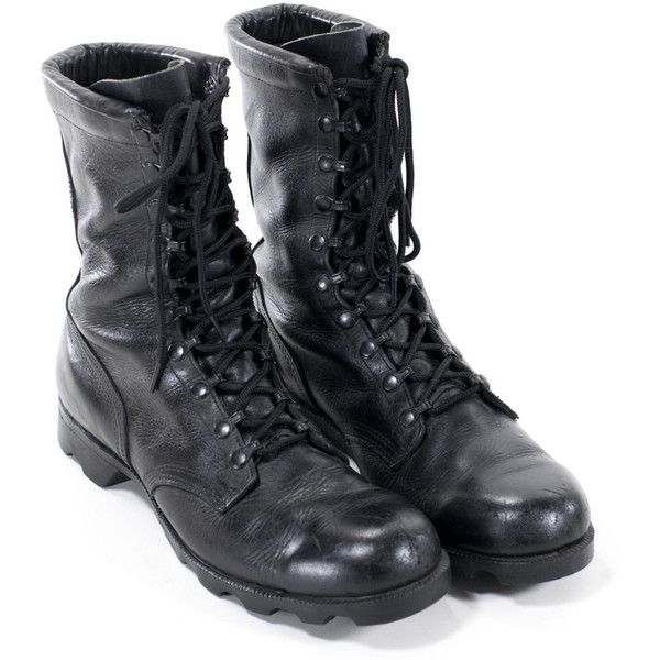 Vintage Military Boots Black Leather Army Steel Toe Combat Boots .