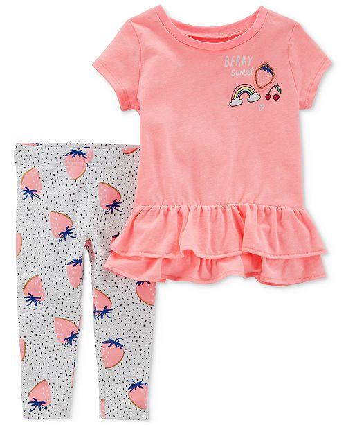 Carter's 2-Pc. Strawberry Graphic-Print Tunic & Leggings Set, Baby .