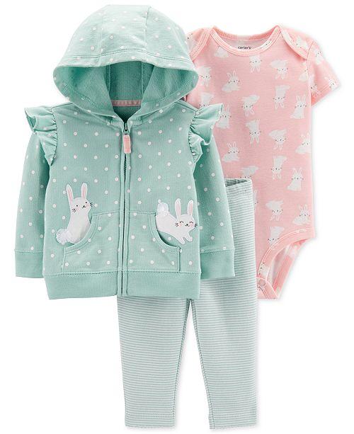 Carter's Baby Girls 3-Pc. Bunny Hoodie, Bodysuit & Leggings Cotton .