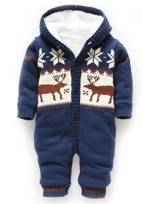 Baby Winter Thick Reindeer Bodysuit Fleece lined | Baby boy .