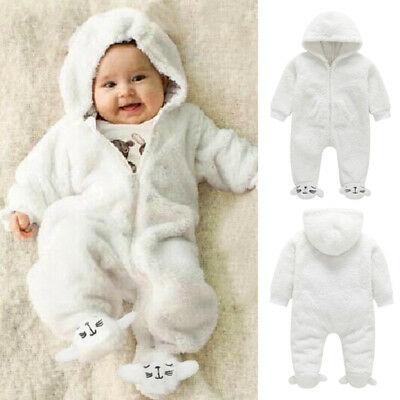 Newborn Baby Girl Boy Fall Winter Fuzzy Romper Bodysuit Jumpsuit .