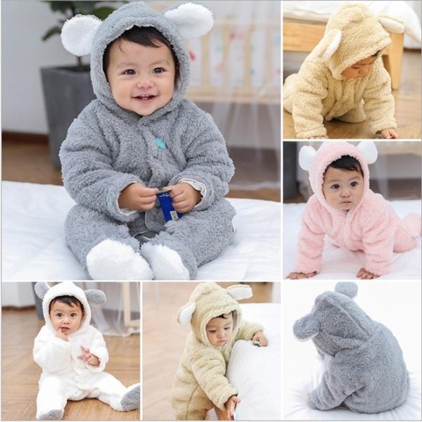 Newborn Baby Winter Soft Hoodie Clothes Cute Teddy Bear Shape .