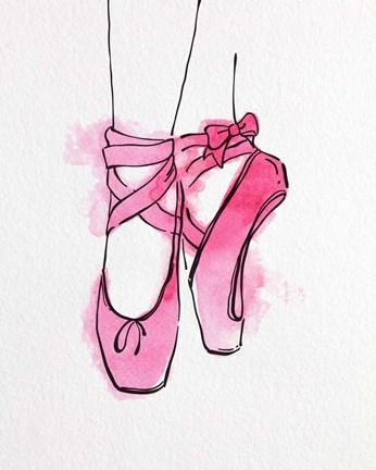 Ballet Shoes En Pointe Pink Watercolor Part III Fine Art Print by .