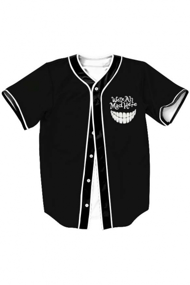 Letter Mouth Printed Short Sleeve Buttons Down Baseball Tee .