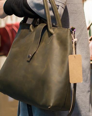 Handmade Leather big handbag dark green brown for women leather shou