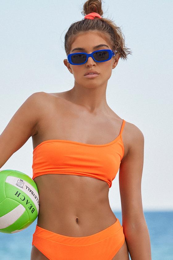 Cute Neon Orange Bikini - One-Shoulder Bikini Top - Bandeau T