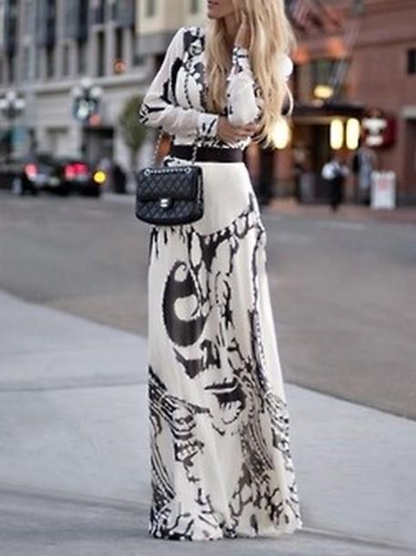 dress, maxi dress, printed dress, black and white dress, long .
