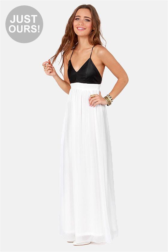 Sexy Black and White Dress - Backless Dress - Maxi Dress - $47.