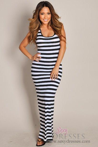 Sleeveless Black and White Stripes Crochet Maxi Dress | Black .