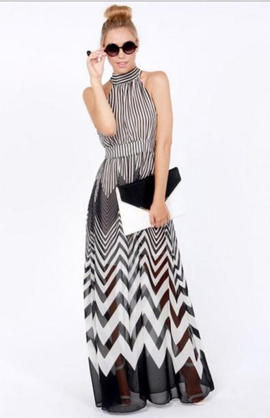 black and white, black and white dress, black and white maxi dress .