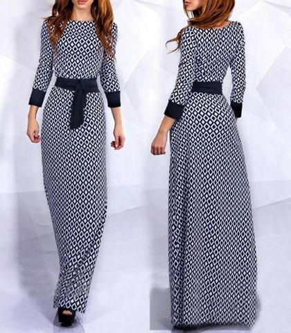 Long Sleeve Maxi Dress - Black Trim / Black and White Geometric Pri