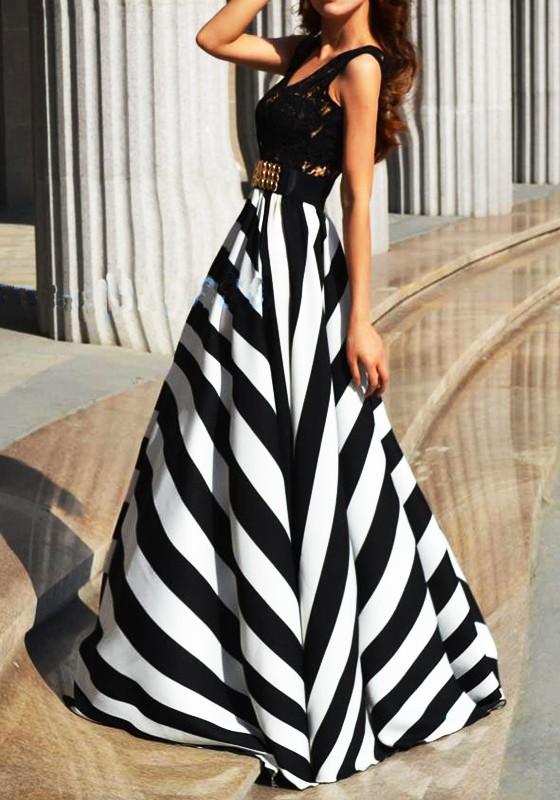 Black White Striped Print High Waisted Big Swing Formal Prom Maxi .