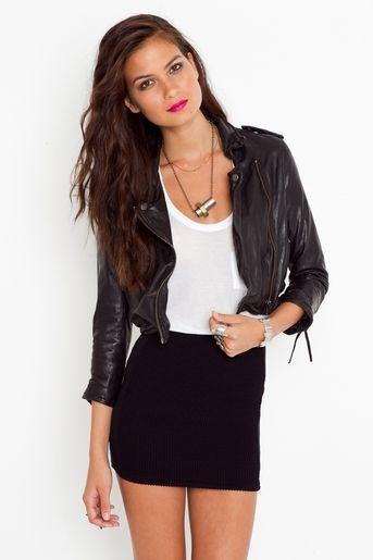 bodycon skirt leather jacket combo | Fashion, Body con skirt .