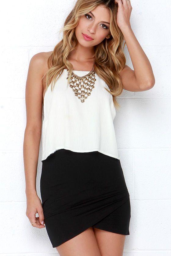 Tulip Locked Black Bodycon Skirt | Bodycon skirt outfit, Body con .