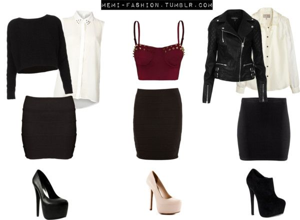 """Inspired Party Outfits with black bodycon skirts."""" by memi ."""