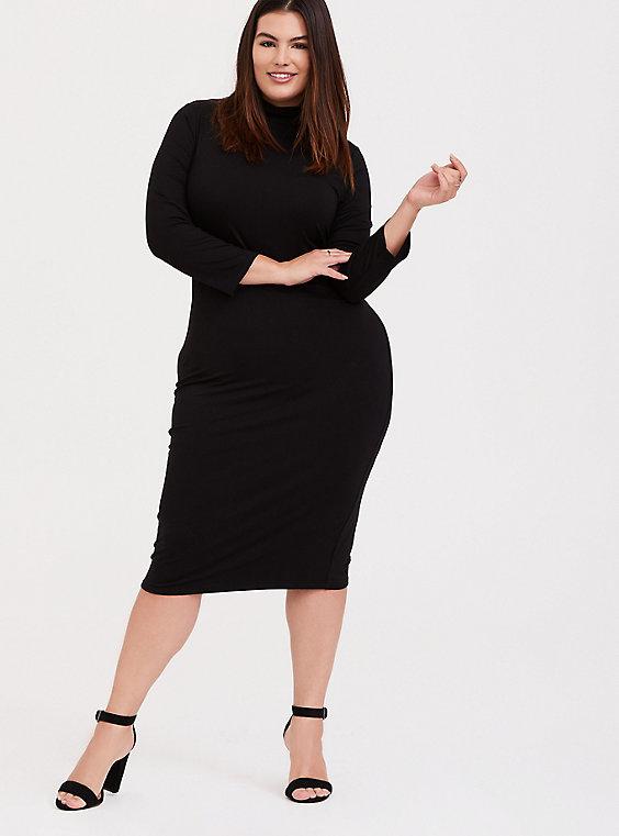 Plus Size - Black Jersey Turtleneck Bodycon Midi Dress - Torr
