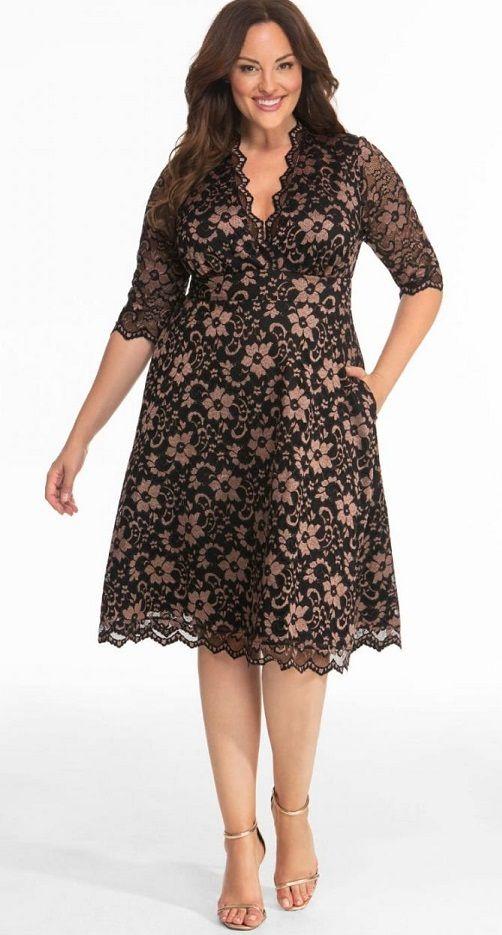 Plus Size Black Lace Dress | Plus size wedding guest dresses, Plus .