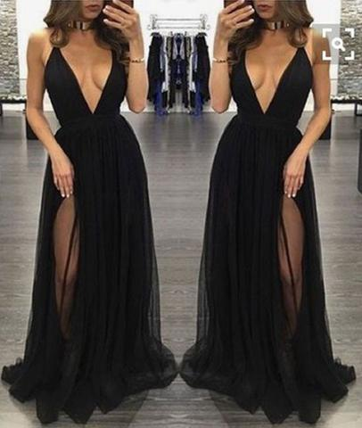 Sexy Backless V-neck Tulle Long Black Prom Dresses, Black Evening .