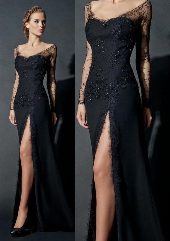 Black Elegnt Sheath Evening Dress, Long Sleeve | DRE