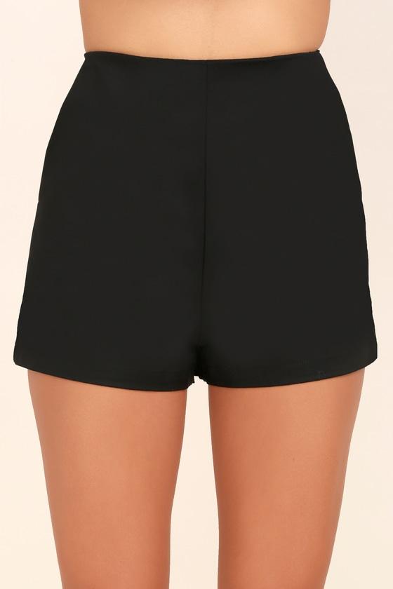 Chic Black Shorts - Woven Shorts - High-Waisted Shorts - $38.