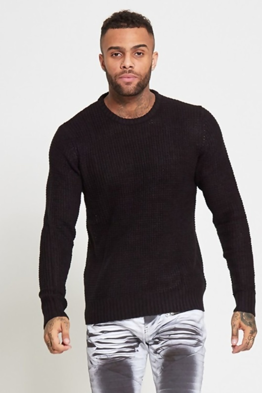 Mens Black Soft Cable Knit Jump